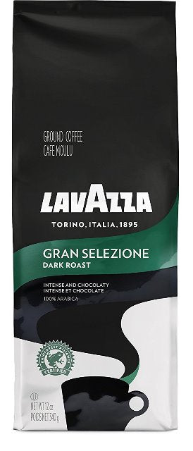 Lavazza Gran Selezione Ground Coffee Blend, Dark Roast, 12-oz