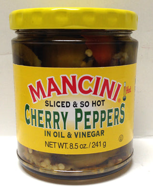Mancini Sliced & So Hot, Cherry Peppers in Oil & Vinegar, 241g