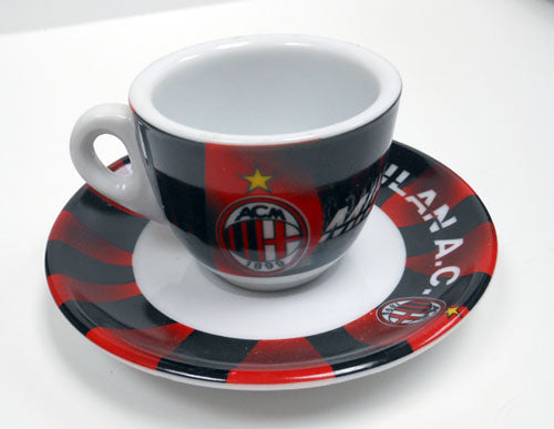 A.C. Milan Espresso Cups and Saucers, set of 6