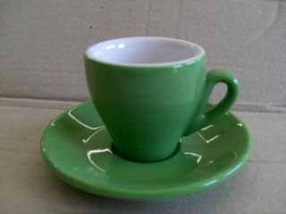 Nuova Point - Milano Espresso Cups and Saucers, Green, Set of 6