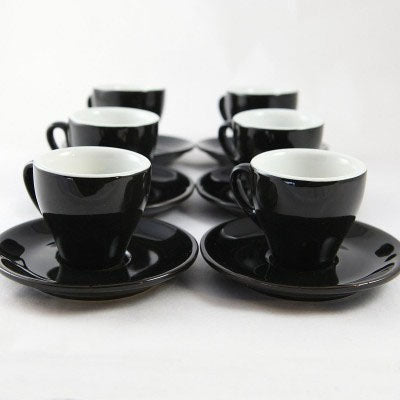 Nuova Point - Cappuccino Cups and Saucers, Black, set of 6
