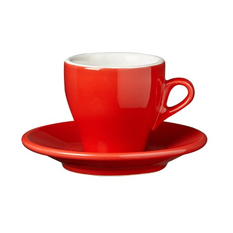 Nuova Point - Cappucino Cups and Saucers, Red , set of 6