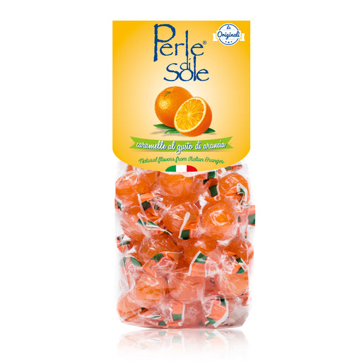 Perle di Sole Orange Flavored Drops Hard Candies, 7.05 oz - 200g