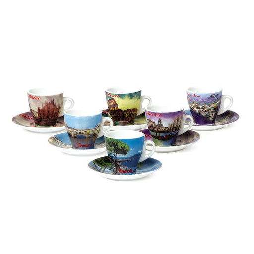 Porcelain Espresso Cup with the Cities of Italy, Set of 6