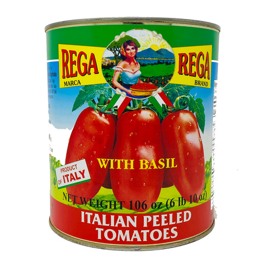Rega Italian Peeled Tomatoes with Basil Leaf, 106 oz | 6 lbs 10 oz
