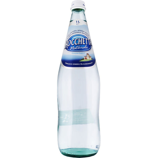 Rocchetta Natural Spring Water FULL Case, 12  x 1 Liter (Glass)