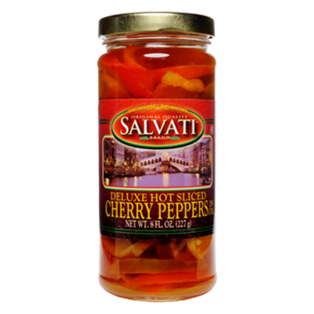 Salvati Deluxe Hot Sliced Cherry Peppers in Oil, 8 FL OZ
