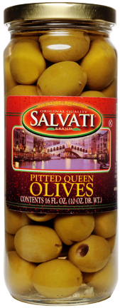 Salvati Salad Pitted Queen Olives 16 FL. OZ. Jar
