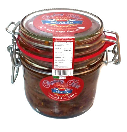 Scalia Anchovy Fillets with Red Pepper in EVOO, 8.4 oz