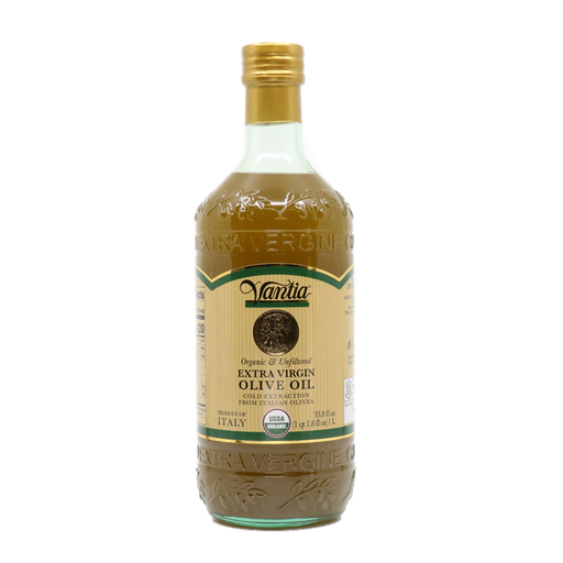Vantia Organic & Unfiltered 100% Italian Olives Extra Virgin Olive Oil, 33.8 fl oz | 1 Liter