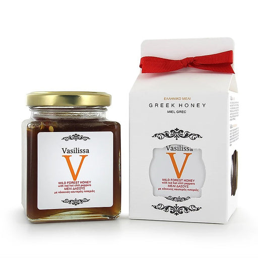 Vasilissa Greek Honey Wildforest Honey with Red Hot Chili Pepper, 8.81 oz | 250g