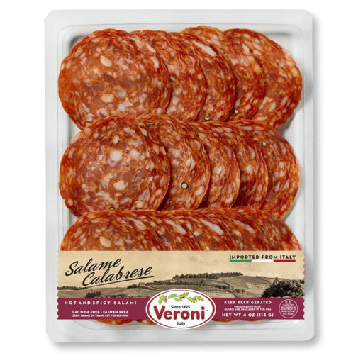 Veroni Pre-Sliced Salame Calabrese, Hot & Spicy, Made In Italy, 4 oz | 113 g