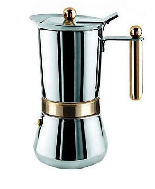 "Vev Vigano ""Vespresso Oro"" Stainless Steel 6 Cups"