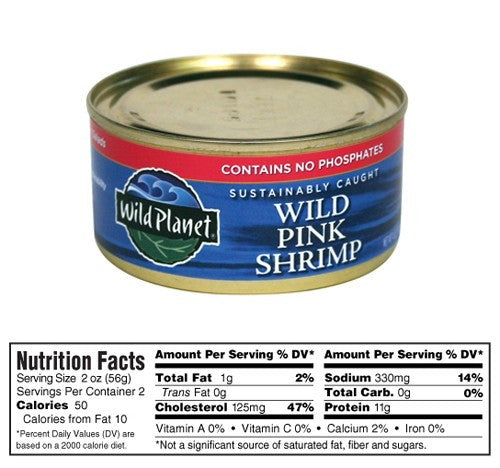 Wild Planet Wild Pink Shrimp 5 oz can