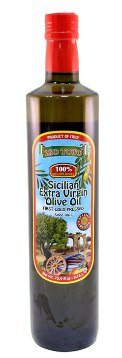 Zio Toto 100% Sicilian Extra Virgin Olive Oil 25.4 fl oz Bottle