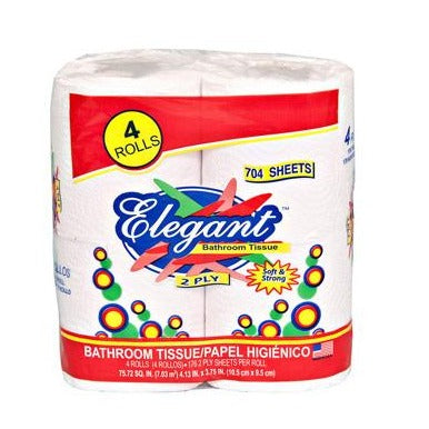 Elegant Toilet Paper roll, 2 ply, 4 Pack