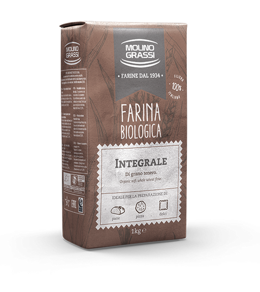 Molino Grassi Organic Whole Wheat Flour, Integrale, 2.2 lb | 1kg