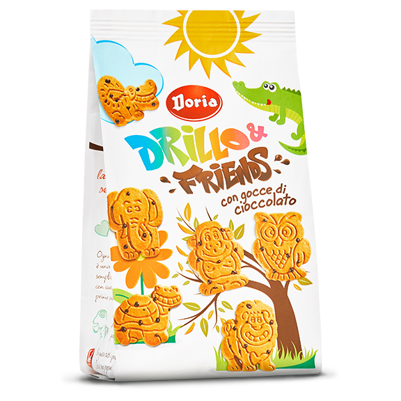 Doria Drillo & Friends, Animal Shaped Cookies with Chocolate Chips, 12.3 oz | 350g