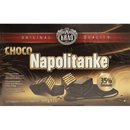Kras Napolitanke Chocolate Coated Wafers Box, 1.1 lb | 500g