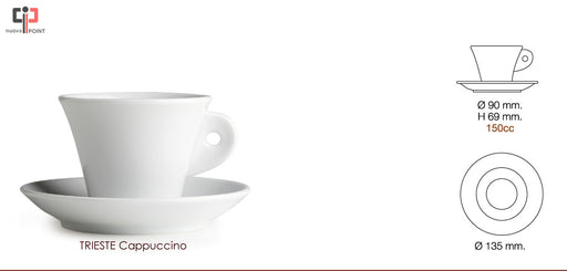 Nuova Point Trieste White Cappuccino Cups and Saucers - Set of 6