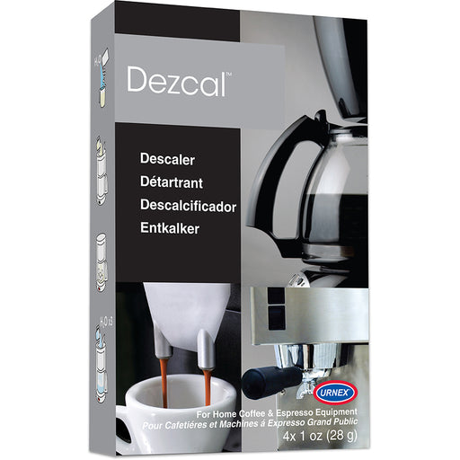 Urnex Dezcal Coffee and Espresso Descaler and Cleaner, 4 Uses Box