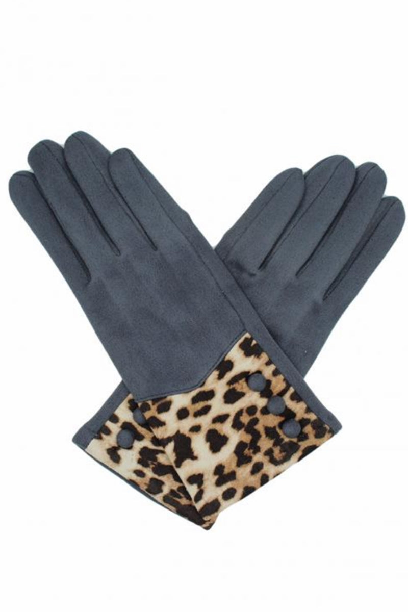 Grey Leopard Print Gloves - AB02