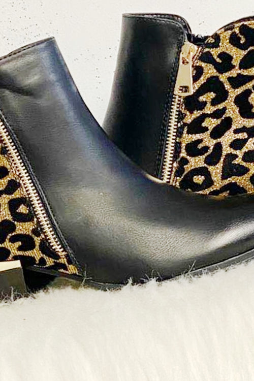 DOMINIQUE Black Ankle Boot - Gold