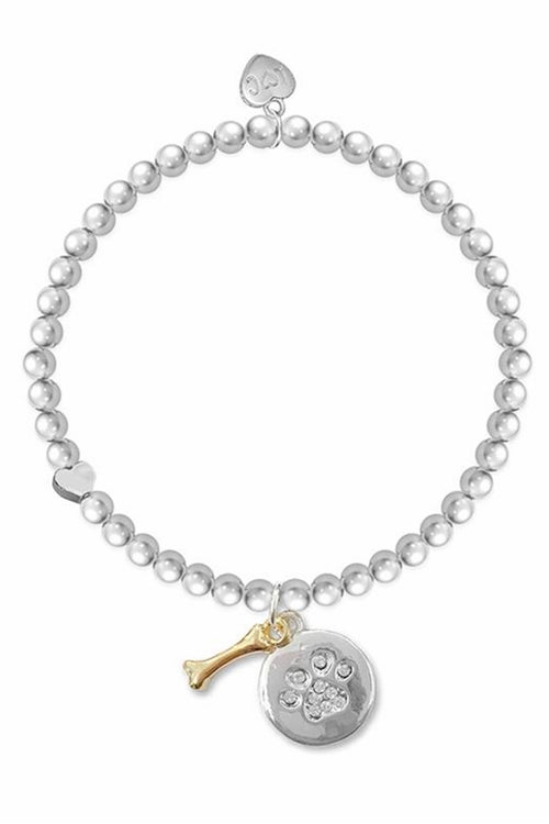 'Dogs Leave Footprints On Your Heart' Silver Bracelet - LC02