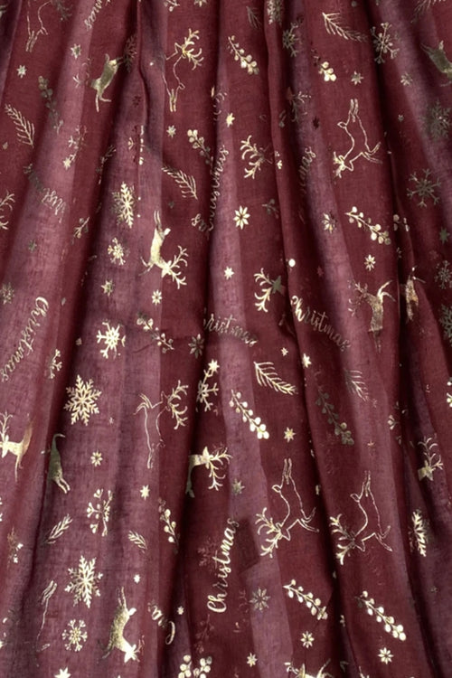 Wine Christmas Scarf - F123