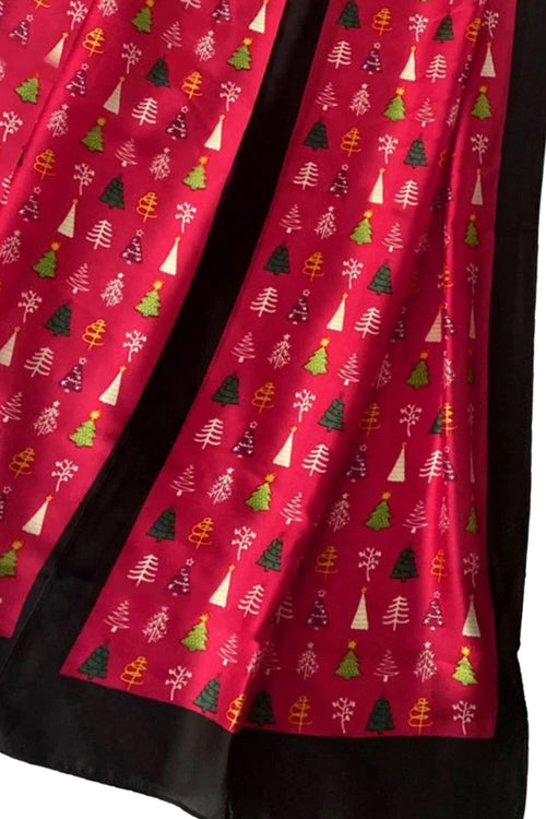 Red Silk Christmas Scarf - F122