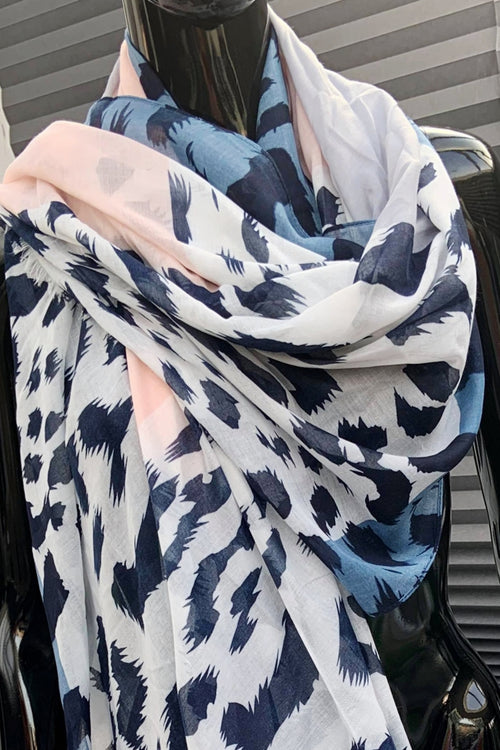 Blue Animal Print Scarf - F140