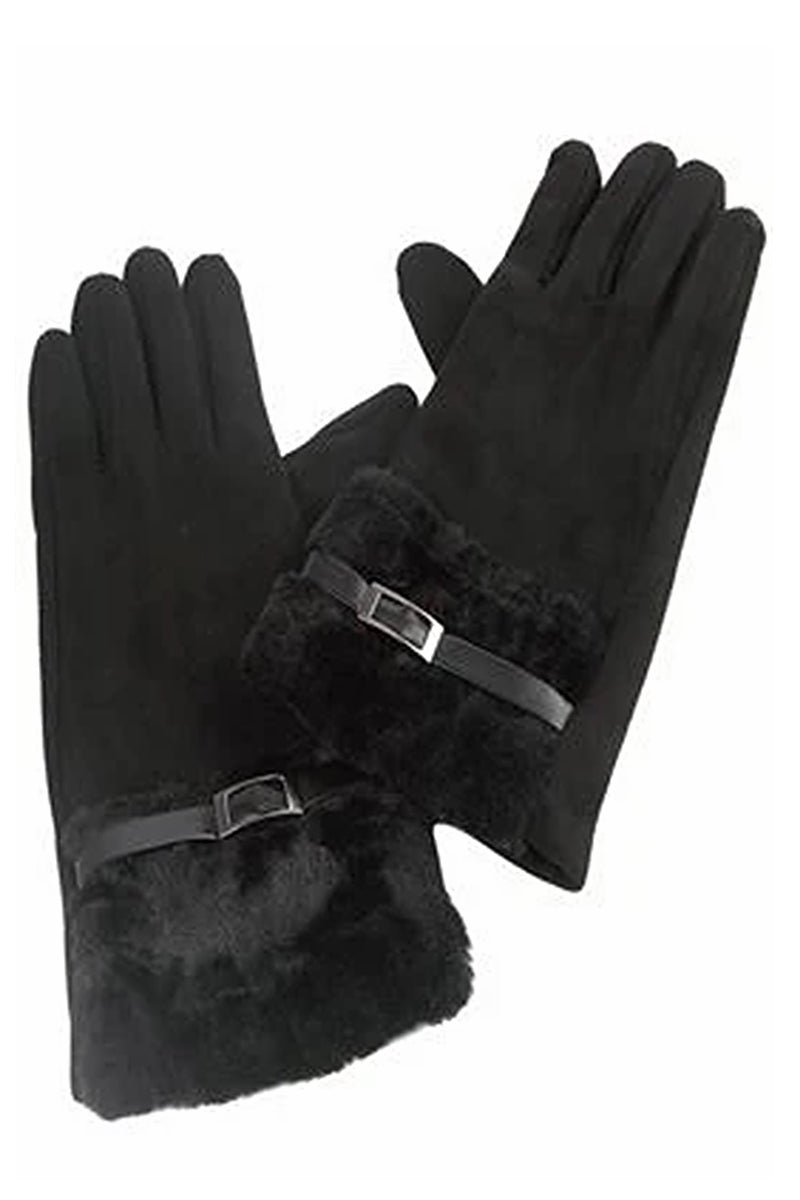 Black Buckle Faux Fur Gloves - FW08