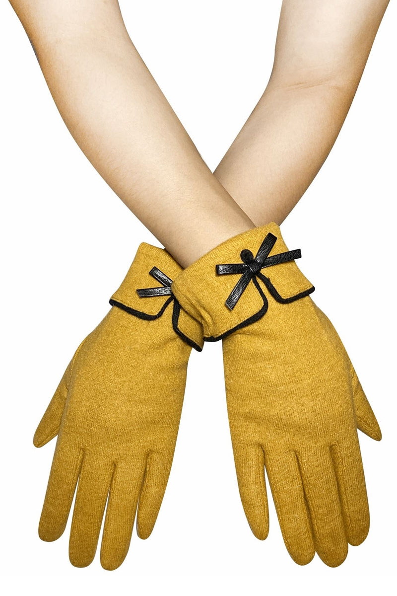 Mustard Bow Gloves - FW03