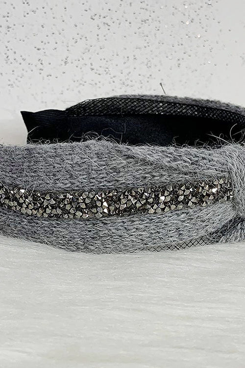 Grey Crystal Knit Headband - P115
