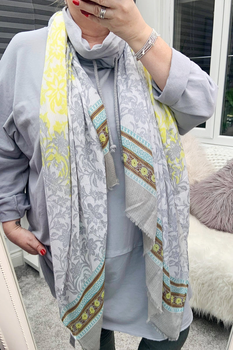Yellow/Grey Floral Scarf - IW013