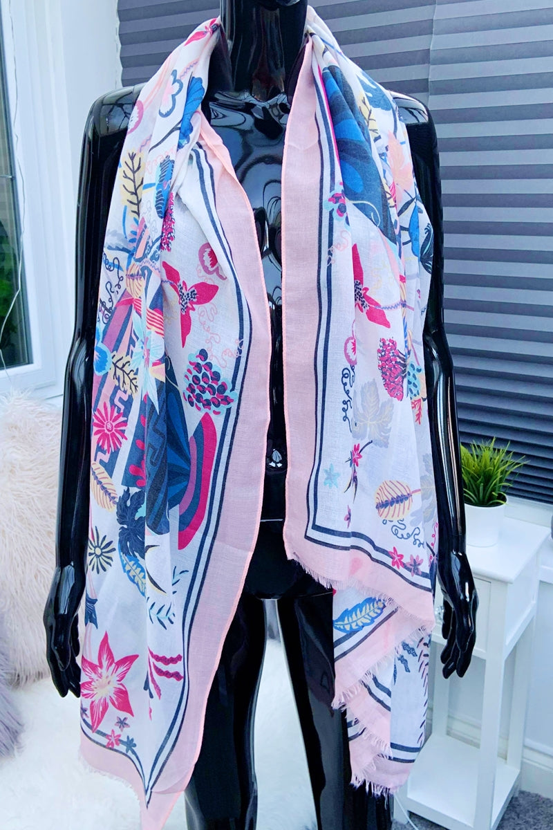 Pink Floral Scarf - IW016