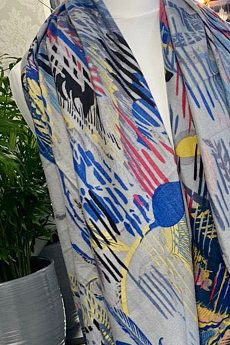 Blue Abstract Scarf - LV03
