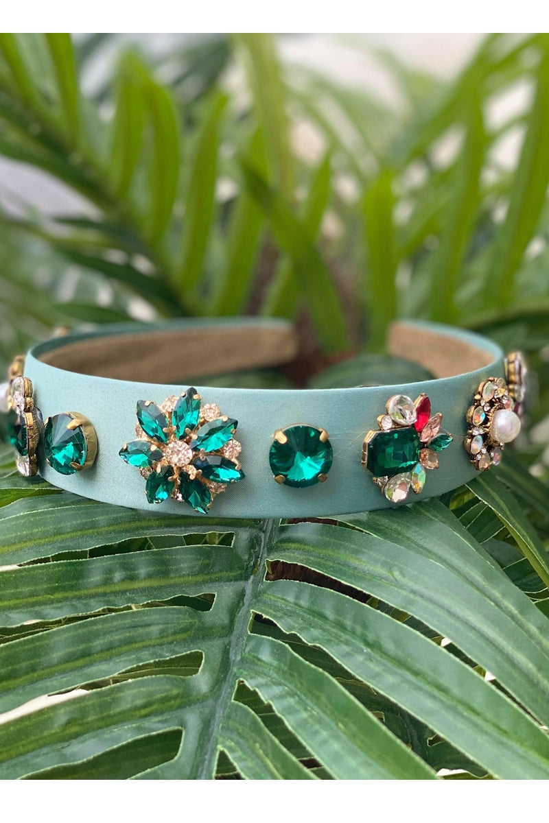 Green Jewelled Headband - P104