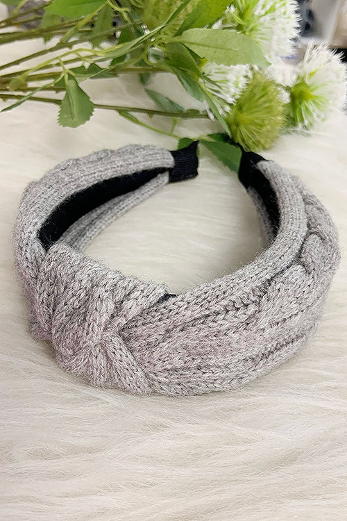 Grey Cable Knit Headband - P114