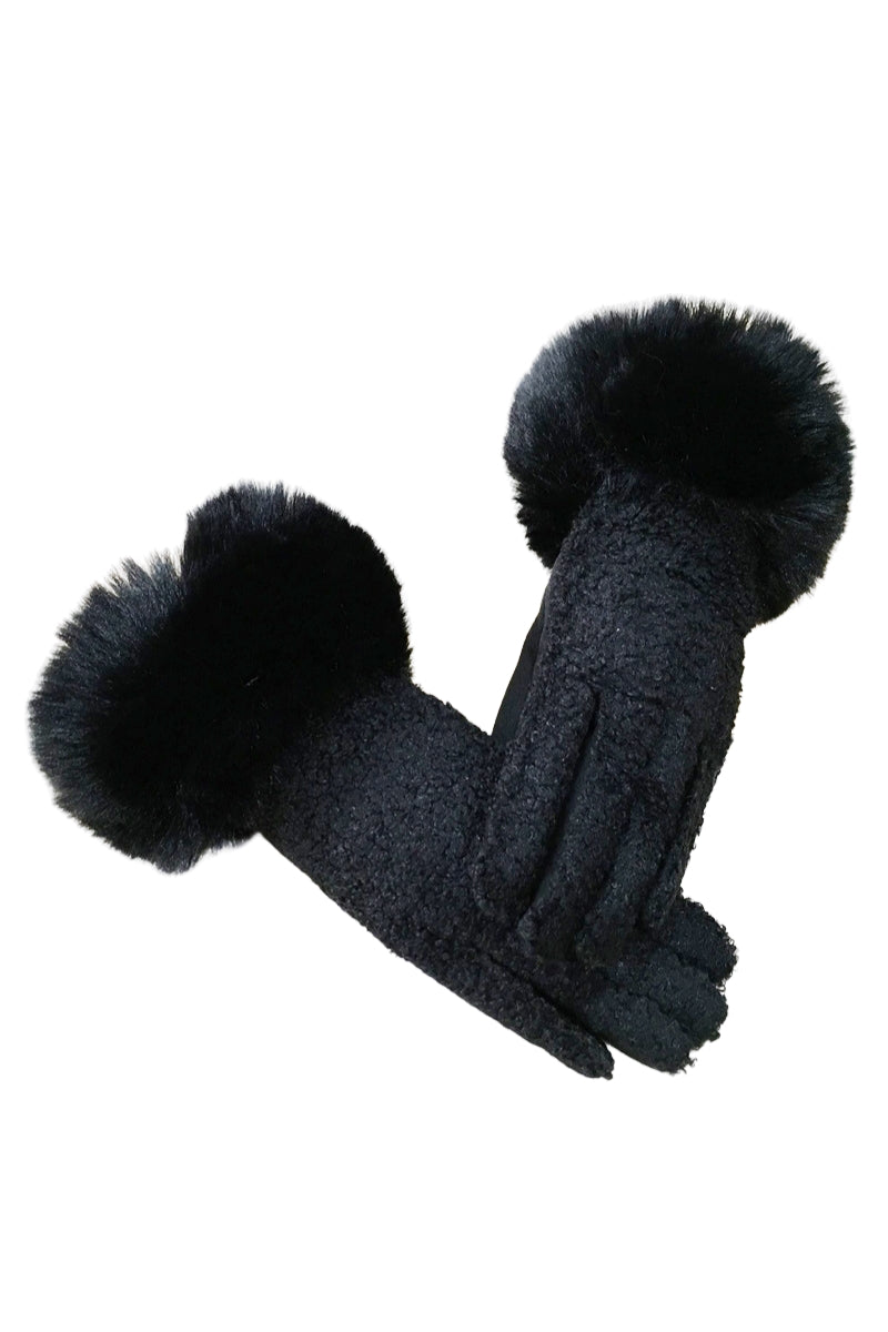 Black Faux Fur Gloves - R01