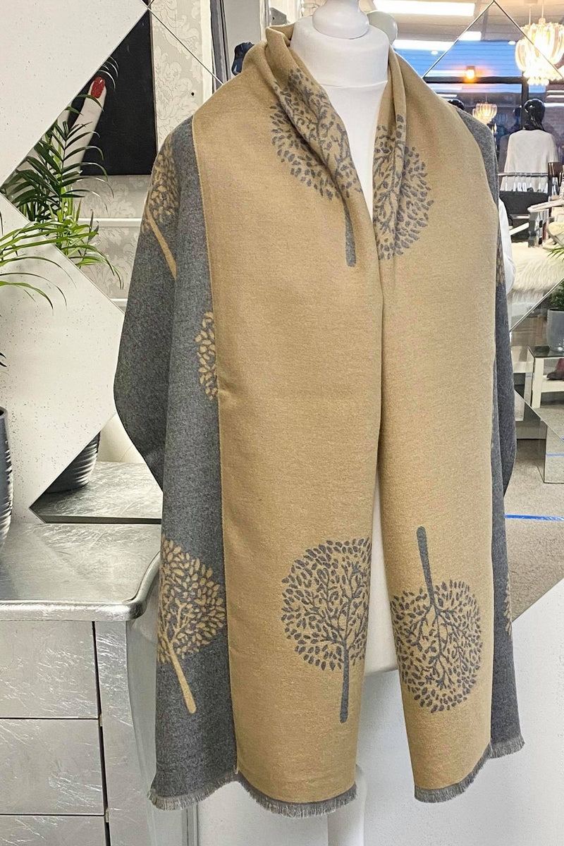 Camel Cashmere Tree Scarf - R108