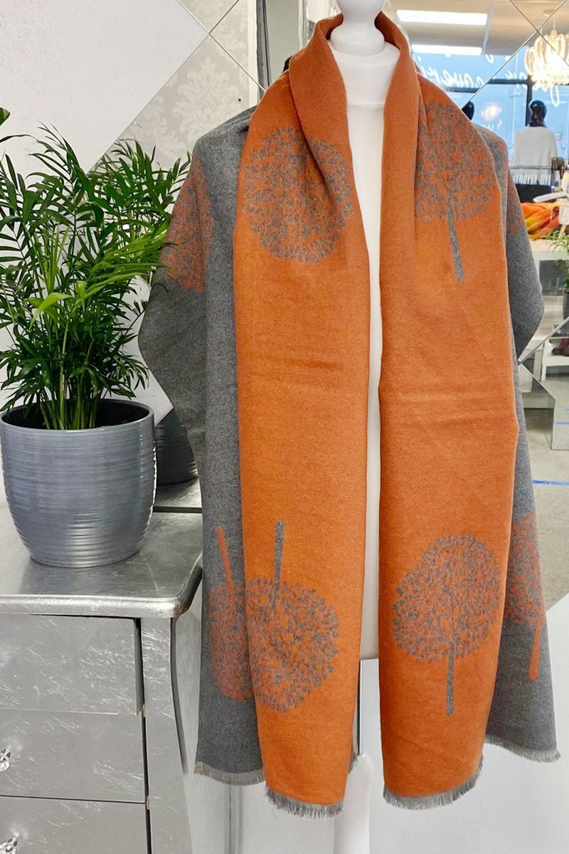 Cashmere Tree Scarf - R108 Rust