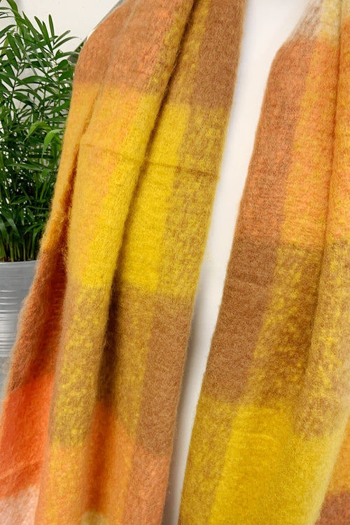 Orange Check Scarf - R109