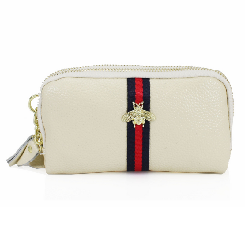 BRONWEN Bee Leather Purse - Cream