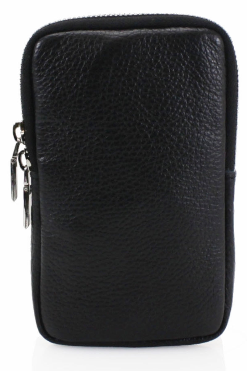 ASHLEY Leather Phone Crossbody Bag - Black