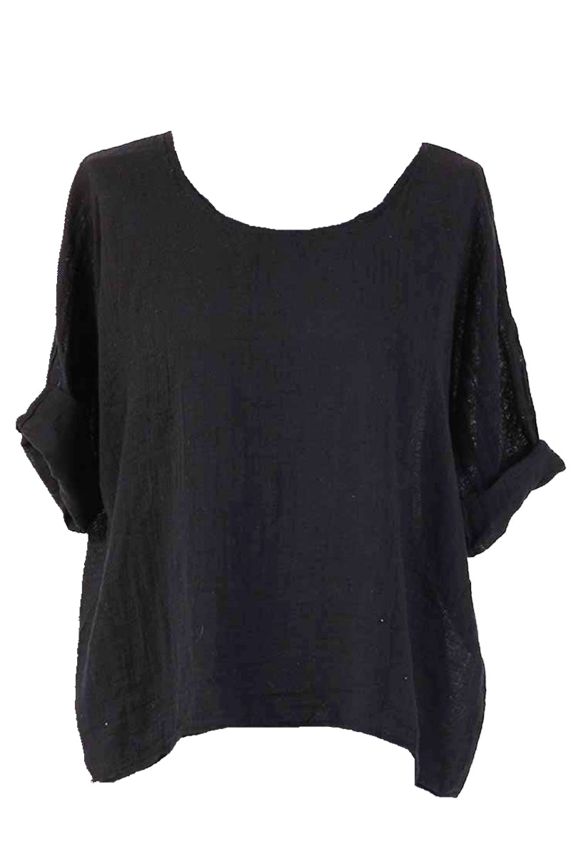 COLLETTE Linen Top - Black