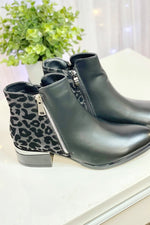 DOMINIQUE Black Ankle Boot - Silver