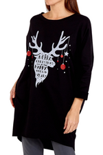 HOLLY Christmas Top - Black