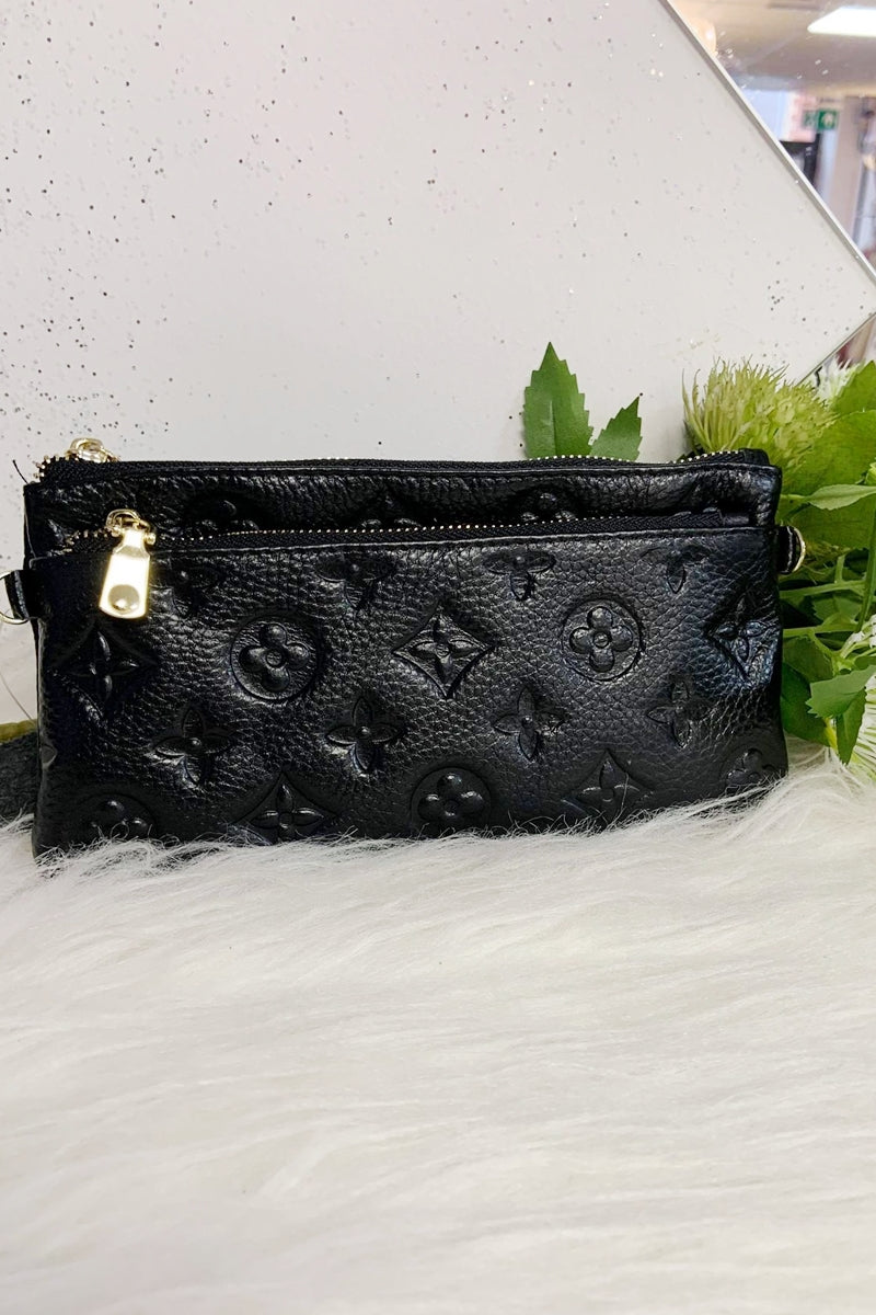 LILY Leather Wristlet Purse - Black