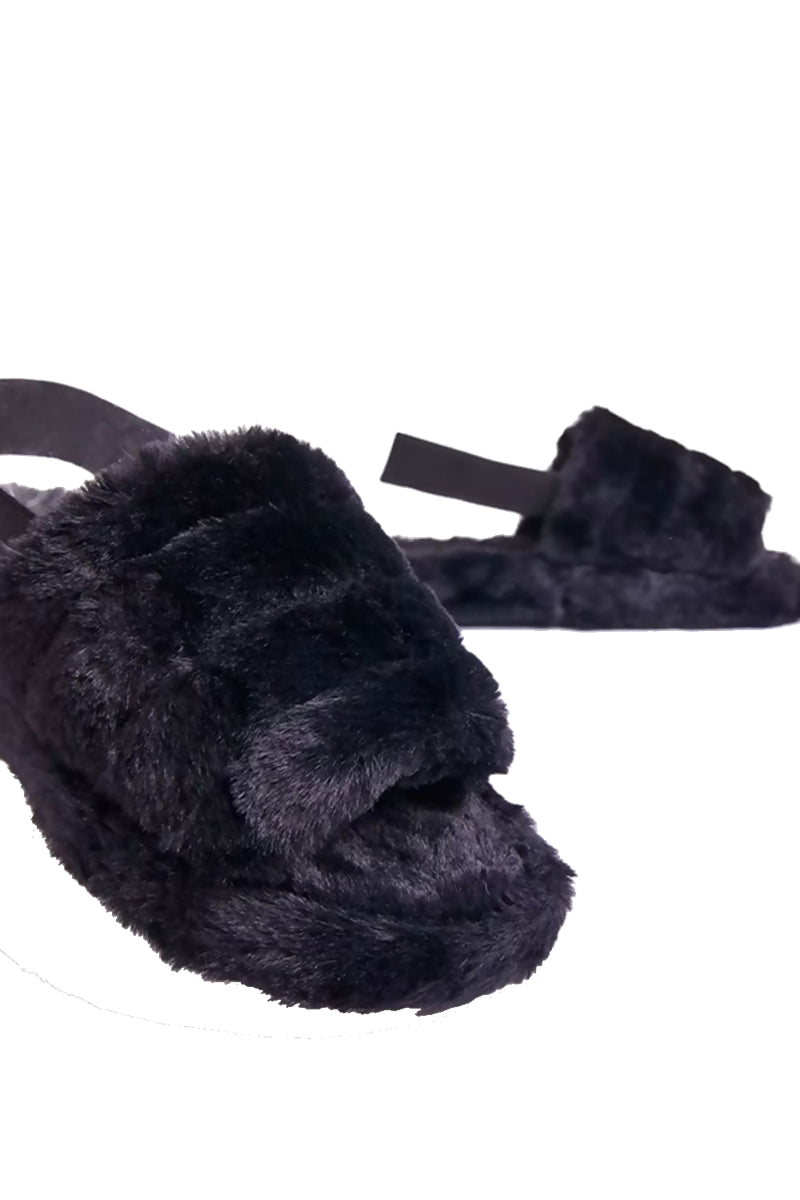 PAULA Fluffy Slide Slipper - Black